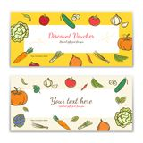 Vegetable theme gift certificate, voucher, gift card or cash coupon template in vector format royalty free illustration