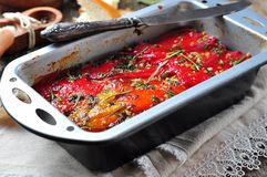 Vegetable Tian, peppers and eggplant baked with olive oil and garlic. French cuisine Stock Photo
