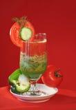 Vegetable tomato fresh juice. Vegetable fresh juice tomato and cucumber royalty free stock photos