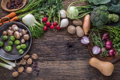 Vegetable. Top view assortment fresh vegetable on old oak table Royalty Free Stock Photo