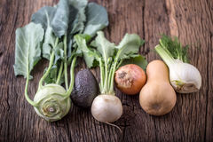 Vegetable. Top view assortment fresh vegetable on old oak table Royalty Free Stock Image