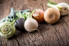 Vegetable. Top view assortment fresh vegetable on old oak table Royalty Free Stock Images