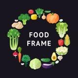 Vegetable vector circle frame background. Modern flat design. Stock Photo