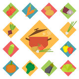 Vegetable vector food icons Royalty Free Stock Photos