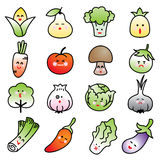 Vegetable vector icon set on white background. Emotic icon vegetable Royalty Free Stock Photo