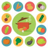 Vegetable vector icons, food set for cooking, Stock Images