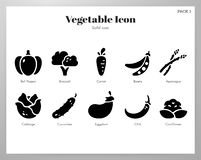 Vegetable icons Solid pack royalty free illustration