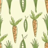 Vegetable vector seamless pattern. Carrot and peas vector illustration