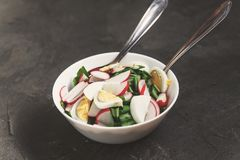 Vegetable vegan salad of ramson, radish, green onions and boiled. Eggs in a white plate on a dark concrete background, in retro treatment. Close-up, top view Royalty Free Stock Photography