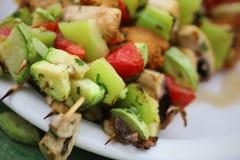 Vegetable vegan skewers stock images