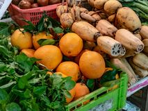 Vegetable vendor at the market royalty free stock images