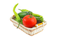 Vegetable in a wattled basket Royalty Free Stock Image