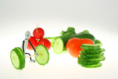Vegetable weight-lifter Stock Images