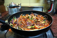 Vegetable wok Stock Images