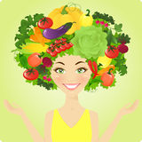 Vegetable woman Stock Photo