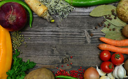 Vegetable on wood frame Royalty Free Stock Photo