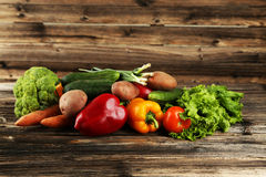 Vegetable on the wooden background Royalty Free Stock Photo
