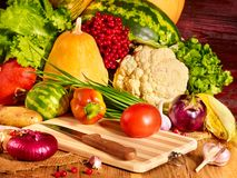 Vegetable on wooden boards. Stock Photos