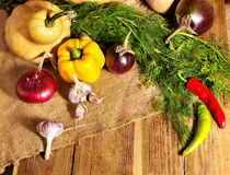 Vegetable on wooden boards. Stock Images