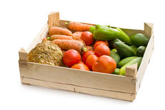 Vegetable in wooden box Royalty Free Stock Photos