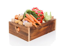 Vegetable in wooden crate. Stock Photo