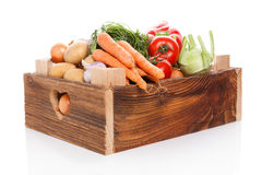 Vegetable in wooden crate. Royalty Free Stock Image