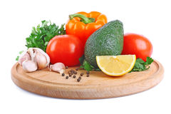 Vegetable on wooden plate Royalty Free Stock Image