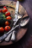 Vegetable in wooden plate Stock Photos
