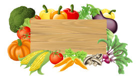Vegetable Wooden Sign Illustration Stock Image