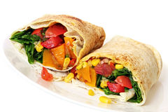 Vegetable Wrap Sandwich. Wrap sandwich filled with healthy salad and roasted vegetables Royalty Free Stock Images