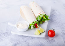 Vegetable wrap sandwiches Royalty Free Stock Images