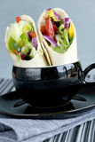 Vegetable wraps. With iceberg lettucr, peppers and red onion Royalty Free Stock Photo
