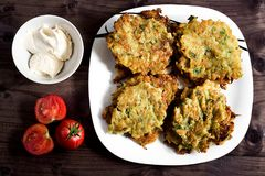 Vegetable zucchini pancakes royalty free stock images