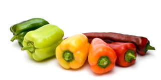 Vegetables_07. Picture of bell peppers on the degree of ripeness of isolation on a white background Royalty Free Stock Photo