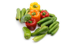 Vegetables. Colored bell pepper isolated on white background Royalty Free Stock Image
