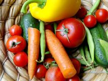 Vegetables. A basket full different vegetables Royalty Free Stock Photos