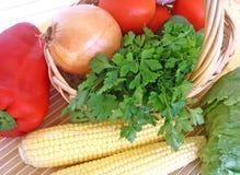 Vegetables. Crop of various vegetables in a basket Stock Image