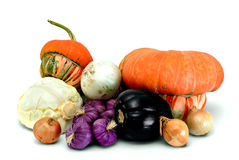 Vegetables. Pumpkin, eggplant, bow, cabbage, garlic on a white background Stock Photo
