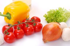 Vegetables. Closeup of resh vegetables on white background Royalty Free Stock Photo