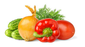 Isolated vegetables. Fresh cucumbers, onion, red bell pepper, plum tomato and dill isolated on white background royalty free stock photography