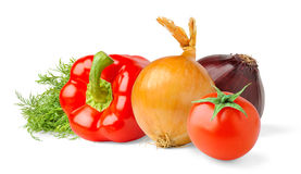 Isolated vegetables. Tomato, bell pepper, onions and dill leaves isolated on white background royalty free stock photo