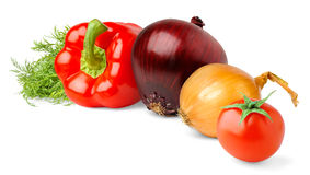 Vegetables. Over white background with shadow stock image