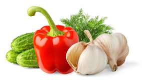 Vegetables. Over white background with shadow stock photos