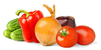 Isolated vegetables. Fresh salad ingredients (tomato, onions, bell pepper and cucumber) isolated on white background royalty free stock image