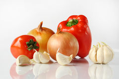 onions, garlic and peppers Royalty Free Stock Photo