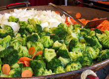 Vegetables. Broccoli, carrots and onions in a big frying pan Stock Photography