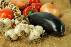 Vegetables. Group of fresh vegetables on canvas background Stock Photography