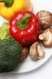 Vegetables. Capsicum, Broccoli and mushrooms on white plate stock images