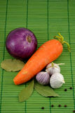 Vegetables. For soup on a green background Royalty Free Stock Photo