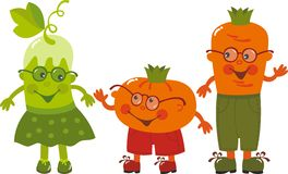 Vegetables. Amusing vegetables cucumber, carrot and tomato Stock Photo